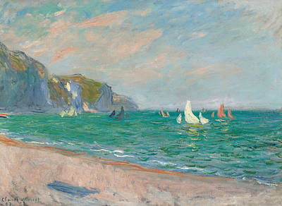 Boats Below The Pourville Cliffs Print by Claude Monet
