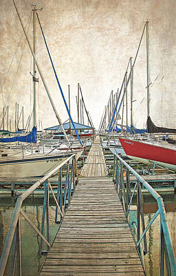 Photograph - Boats Docked At Pier by Charles Beeler