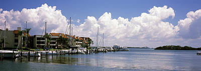 Sunshine Skyway Bridge Wall Art - Photograph - Boats Docked In A Bay, Cabbage Key by Panoramic Images