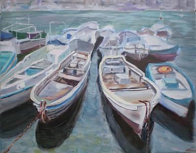 Boats Art Print by Elena Sokolova