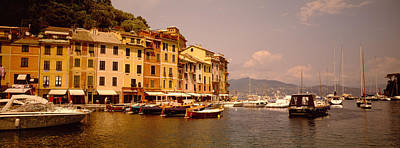 Boats In A Canal, Portofino, Italy Print by Panoramic Images