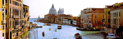 Boats In A Canal With A Church Print by Panoramic Images