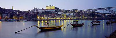 Luis Photograph - Boats In A River, Douro River, Porto by Panoramic Images