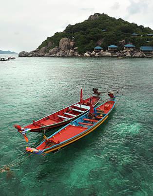 Longtail Wall Art - Photograph - Boats In Bay Of Koh Nang Yuan by Paul Taylor