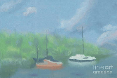 Boats In Cove Art Print by Arlene Babad