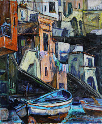 Boats In Front Of The Buildings I  Art Print by Xueling Zou
