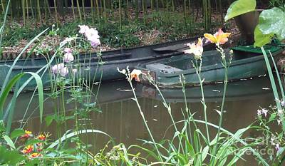 Photograph - Boats In Giverny by Barbie Corbett-Newmin