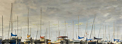 Art Print featuring the photograph Boats In Harbor Reflection by Peter v Quenter