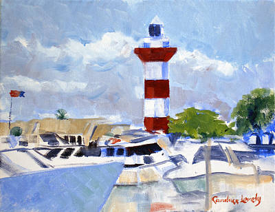 Head Harbour Lighthouse Painting - Boats In Harbour Town by Candace Lovely