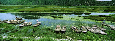 Vietnamese Photograph - Boats In Hoang Long River, Kenh Ga by Panoramic Images