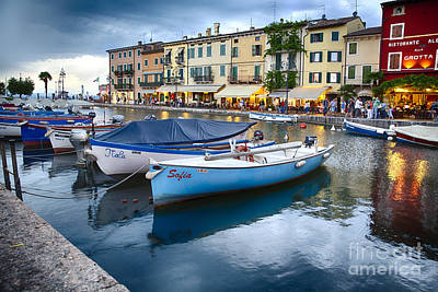 Boats In Lazise Harbor After Sunset Art Print by George Oze