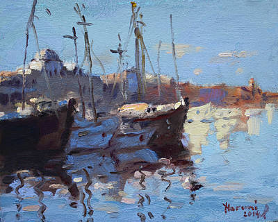 Rhodes Painting - Boats In Mandraki Rhodes Greece  by Ylli Haruni