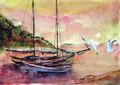 Art Print featuring the painting Boats In Sunset  by Faruk Koksal