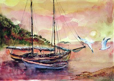 Boats In Sunset  Art Print by Faruk Koksal