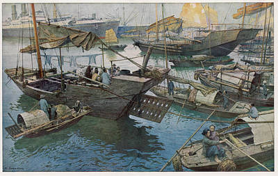 Hong Kong Drawing - Boats In The Harbour          Date 1924 by Mary Evans Picture Library