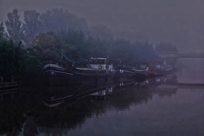 Boats In The Morning Mist  Art Print
