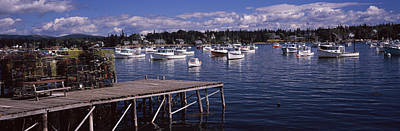 Boats In The Sea, Bass Harbor, Hancock Art Print by Panoramic Images