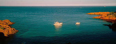 Cote Dazur Photograph - Boats In The Sea, Esterel Massif by Panoramic Images