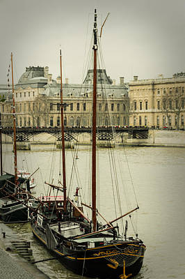 Photograph - Boats In The Seine River by Marco Oliveira