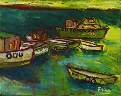Boats In Valparaiso Art Print by Rafael Fischer