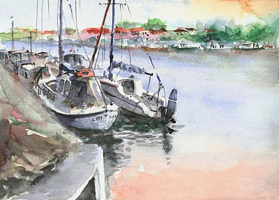 Art Print featuring the painting Boats Inshore by Faruk Koksal