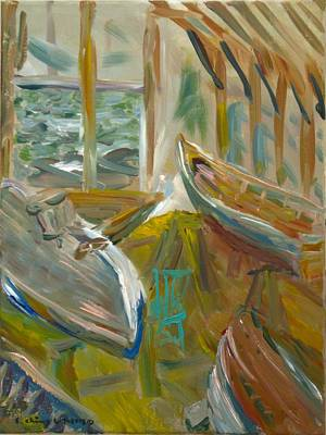 Painting - Boats Inside Gannon And Benjamin  by Edward Ching