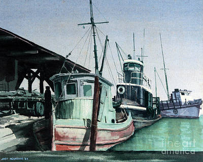 Art Print featuring the painting Boats by Joey Agbayani
