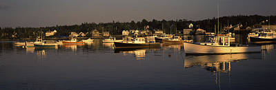 Boats Moored At A Harbor, Bass Harbor Art Print by Panoramic Images