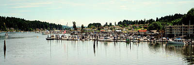 Boats Moored At A Harbor, Gig Harbor Art Print