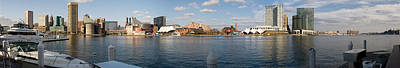 Baltimore Inner Harbor Photograph - Boats Moored At A Harbor, Inner Harbor by Panoramic Images