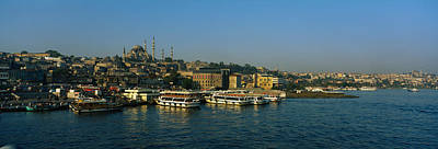 Byzantine Photograph - Boats Moored At A Harbor, Istanbul by Panoramic Images