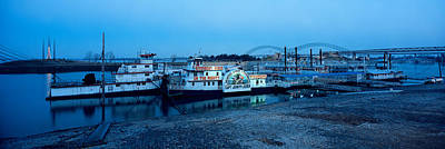 Mississippi River Photograph - Boats Moored At A Harbor, Memphis by Panoramic Images