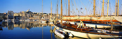 Dazur Photograph - Boats Moored At A Harbor, Vieux Port by Panoramic Images