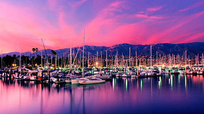 Boats Moored In Harbor At Sunset, Santa Art Print by Panoramic Images