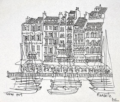 Boats Moored In The Vieux-port Art Print