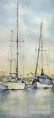 Watercolor Painting - Boats - Newport Beach by Natalia Eremeyeva Duarte