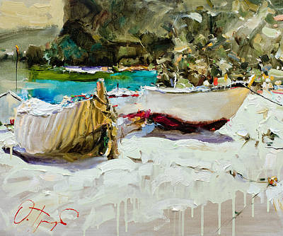 Boats Of Catalonia Print by Oleg Trofimoff