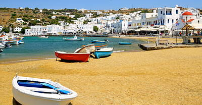 Photograph - Boats Of Mykonos by Corinne Rhode