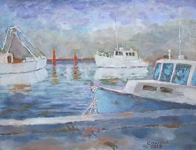 Painting - Boats Of Tarpon Springs II by Tony Caviston