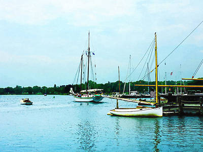 Art Print featuring the photograph Boats On A Calm Sea by Susan Savad