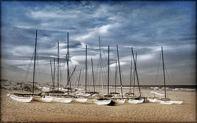 Photograph - Boats On Beach In Duo-tone by Carolyn Derstine