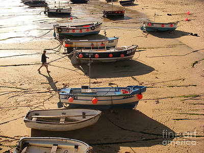 Boats On Beach Art Print by Pixel  Chimp