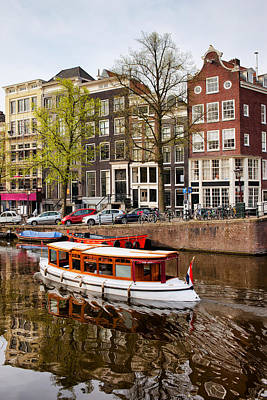 Boats On Canal In Amsterdam Art Print