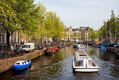 Old Home Place Photograph - Boats On Canal Tour In Amsterdam by Artur Bogacki