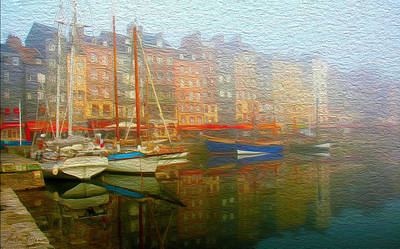 Port Town Mixed Media - Boats On Fog. by Carlos Villegas