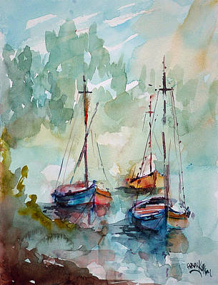 Art Print featuring the painting Boats On Lake  by Faruk Koksal