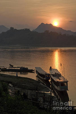 Boats On River By Luang Prabang Laos  Art Print