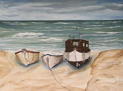 North Sea Painting - Boats On Shore by Christiane Schulze Art And Photography