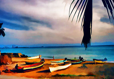 Row Boat Digital Art - Boats On The Beach Digital Art By Cathy Anderson by Cathy Anderson