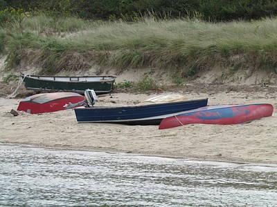 Boats On The Beach Art Print by Marci Spotts